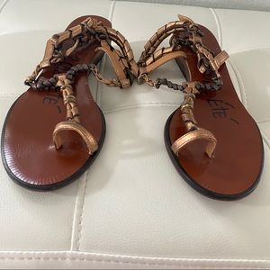 LANVIN gold metal/leather wrap toe ring sandals